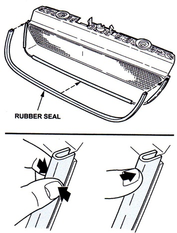 Figure 2. Install the new rubber seal and press tightly to the tape to provide good adhesion.