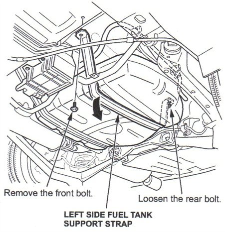 Remove the front LH fuel tank strap bolt, but only loosen the rear LH strap bolt.