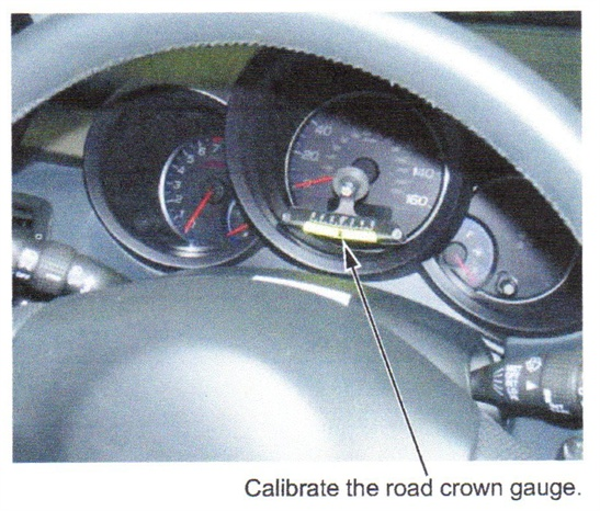 Here the road crown gauge is attached to the speedometer face, directly  ahead of the steering wheel. The gauge must be calibrated (zeroed) on a  level surface.