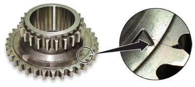 Example of hairline fracture on the crankshaft sprocket.