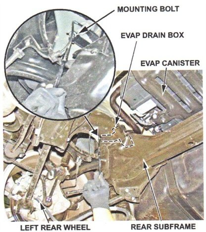 The EVAP drain box is located above the left rear subframe.