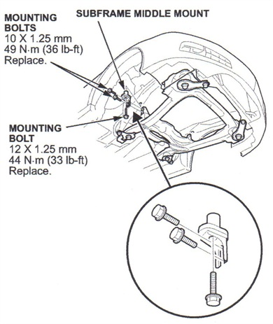 On Accord models, remove the front subframe middle mount.