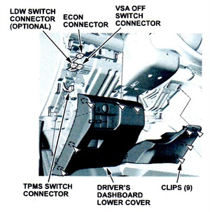 Location of switches for disconnection during disassembly.