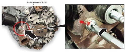 Note the location of the B+ sensing screw. Be careful to avoid over-torqueing.