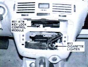 Note location of ATM key lock control module (example shown is Sonata).