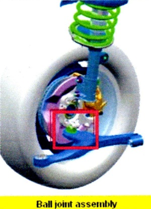 The previous lower ball joint featured a separate dust cover, while the revised joint features an integrated cover.