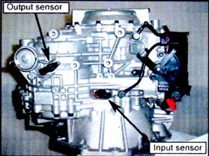 Note locations for the input and output speed sensors.