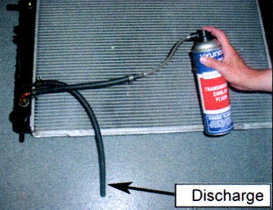 Flush through one of the hoses, with the other hose emptying into a waste container.