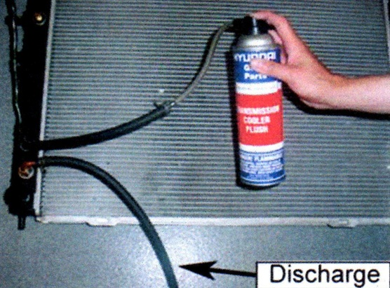 Flush through the other hose. If the flushing liquid does not flow freely in both directions, replace the oil cooler.