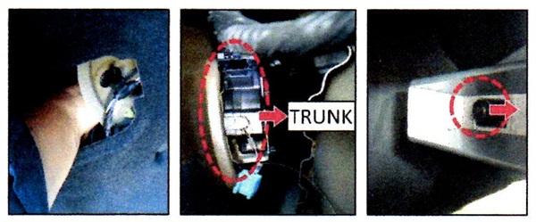Push the fuel door actuator inward towards the trunk interior to provide more fuel door lateral movement.