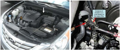 Note the approximate location of the fuel tube holder (see arrow in left photo). The photo on the right shows the holder.