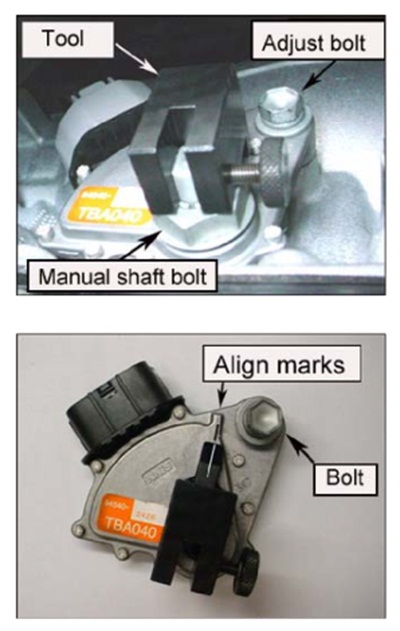 The adjusting tool is positioned as shown (top). Mote the alignment marks on the tool and switch.