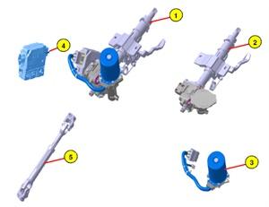 Component layout. 1) Column & shaft assembly. 2) Column & housing assembly. 3) MDPS motor. 4) MDPS ECU. 5) Universal joint assembly.