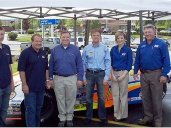 (L to R) Clifford Hovis; Ken Schrader; Cliff Hovis, president-Hovis   Auto and Truck Supply.; Kenny Wallace; Meredith Marburger, marketing   director-Hovis Auto and Truck Supply.; Don Daugherty, sales manager-   Hovis Auto and Truck Supply.