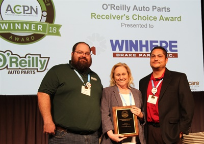Left to right; Jeremy Schultz, electronic content systems manager; Patti Corso, catalog manager, Winhere Brake Parts, Inc.; Efrain Tena, electronic catalog systems manager, O'Reilly Auto Parts.