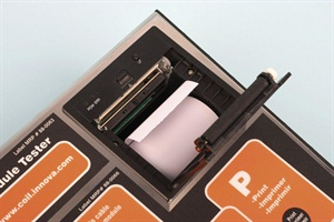 The built-in printer features a print paper roll that's easily accessed for replenishing.