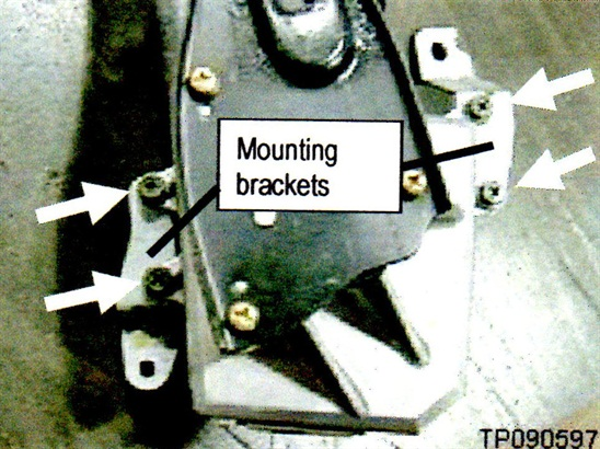 Figure 3. Each bracket is secured with 2 screws. Re-use these screws and tighten to 51 in-lb (5.7 Nm).