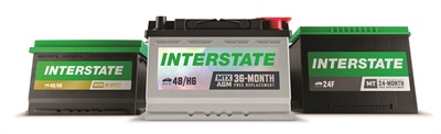 Interstate Batteries is introducing a new look for its battery products. The MTX (center) is designed for cars that use a lot of accessories and plug-ins or require an AGM battery. The MTP (left) and the MT are flooded batteries. Photo courtesy of Interstate Batteries.
