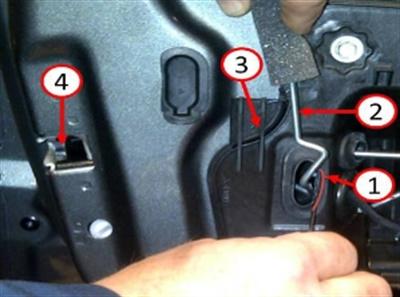 1) Location of Nye grease application; 2) Rear door lock/link rod; 3) Rear door module; 4) Rear door latch.