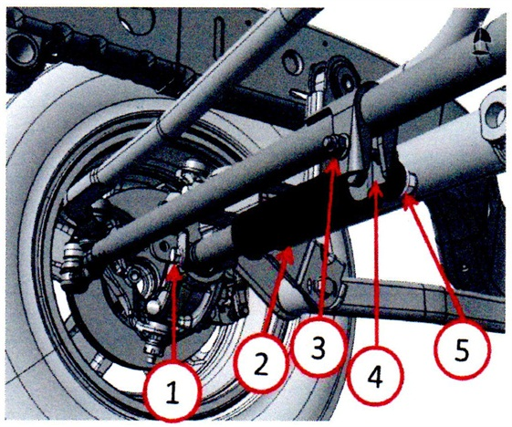 The steering damper-to-axle bolt (1) and the bolts and stud on the damper bracket (3 and 5) should be aiming forward and parallel with the ground.