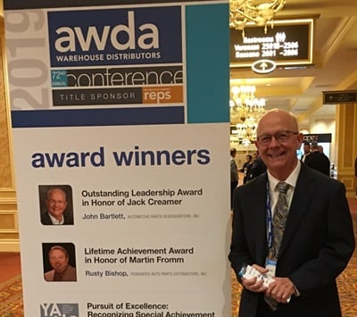 John Bartlett, executive chairman and CEO at Automotive Parts Headquarters, was honored with the Automotive Warehouse Distributors Association 2019 Jack Creamer Automotive Leader of the Year Award.