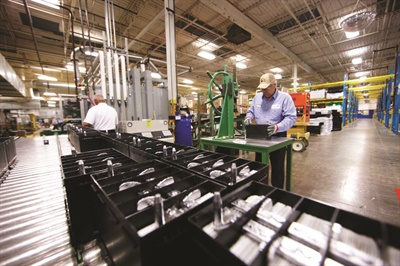 Johnson Controls manufactures absorbed glass mat (AGM) batteries under private label for a range of auto retailers, OE manufacturers, distributors and mass merchants throughout North America. Photo courtesy of Johnson Controls.