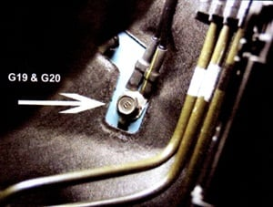 Check for a clean ground at the grounding lug for G19 – G20. Excess paint debris caught in the connection may cause a poor ground.