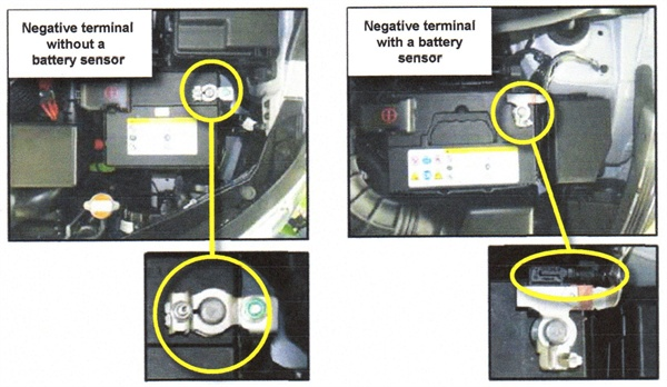 At left is a negative terminal without a battery sensor. At right is a negative terminal that does features a battery sensor.