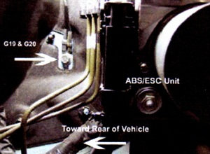 The ground is located on the LH inner body panel, behind the ABS/ESC unit.