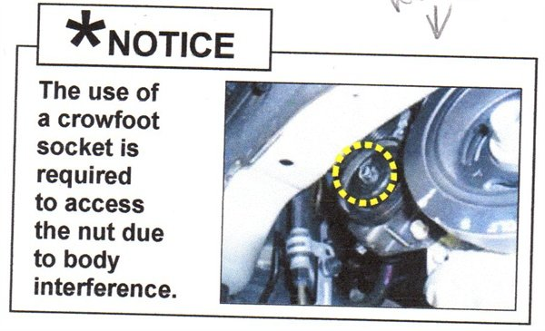 Due to limited access, a crowfoot wrench extension will be required for your torque wrench.