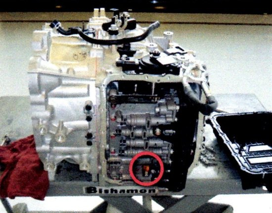 Location of the transaxle oil temperature sensor (circled in red).