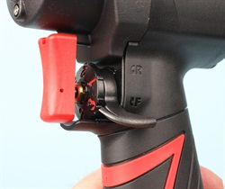 The selector lever is a feature that I really like. The lever is prominent with a radiused profile. Change of direction is easily made by clicking your thumb up or down, with no need to reposition your grip or move your trigger finger.