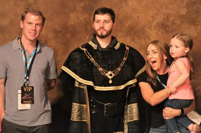 Bumper to Bumper customers of ASAP Automotive Warehouse posed for a photo with the king at Medieval Times before a dinner and show in Orlando, Fla.