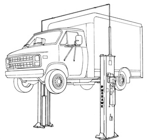 Even though total vehicle weight might be within the rating of the lift, if a commercial vehicle is rear-heavy, due to the weight distribution, the lift may be dangerously overloaded.