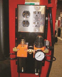 Above-ground lift accessory options (mounted to a lift post) include electrical outlets and compressed air couplings for handy undercar hookups.