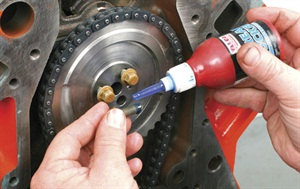 Also apply thread locker to the camshaft sprocket bolts and torque to 18 ft.-lbs.