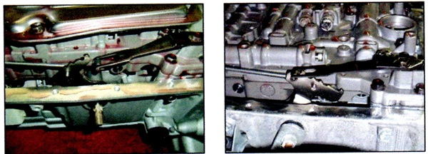 Left: This photo shows the detent spring detached form the manual shift lever. Right: Here the detent spring is in place on the manual shift lever.