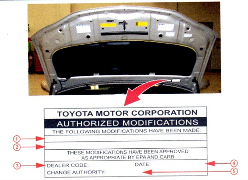 Complete the Authorized Modifications Label as indicated. 1) Replacement HV ECU P/N; 2) New calibration ID(s); 3) Dealer code; 4) Date completed; 5) L-SB-0035-12.