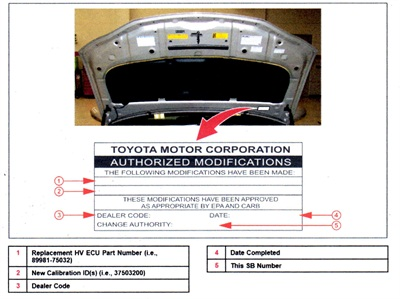 Check the authorized modifications label. If the update has not been performed, after reprogramming, affix a new modifications label.