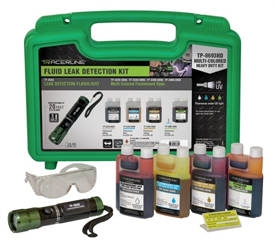 The kit features the TP-8695 LeakTracker cordless, high-intensity UV LED flashlight and color-coded dyes to pinpoint the exact source of multiple leaks in all vehicle systems.