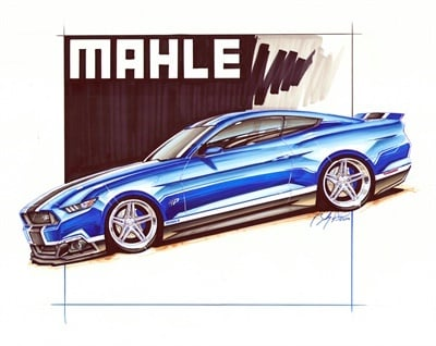 The Mahle Petty's Garage Ford Mustang comes with distinctive custom paint in Mahle blue and is powered by a twin turbo, 1,000 hp 5.0-liter engine.