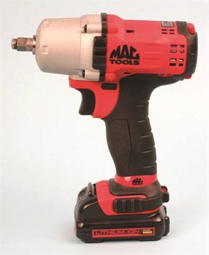 The 3/8-inch-drive Mac Tools cordless wrench is relatively compact, at 7.1 inches tall by 6.7 inches long and a mere 2.5 inches wide.