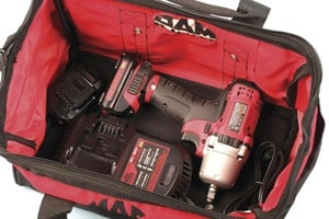 The large, heavy-duty, zippered carry case is definitely plus-sized, with more than enough room to store the cordless wrench, charger, extra batteries and more.