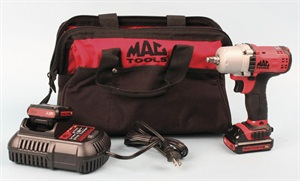 The kit includes the wrench, battery charger, two batteries and a sturdy zippered carrying case.