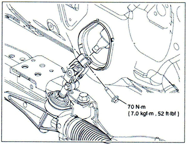 Be sure to tighten the U-joint's pinch bolts to 52 ft.-lbs.