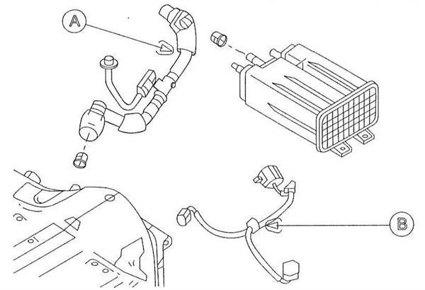 (A) Original evaporation hose assembly. (B) Short cord.