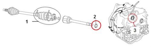 1) Inner joint boot set; 2) Dust cover; 3) Oil seal.