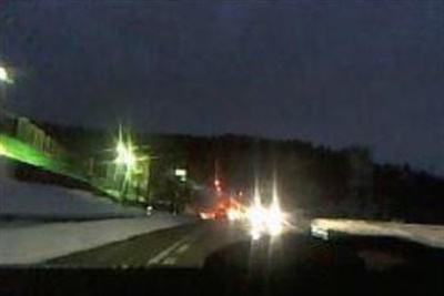 Example of strong halo from oncoming vehicle.