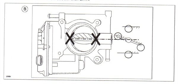 With the throttle valve open, clean the areas indicated by the circles.