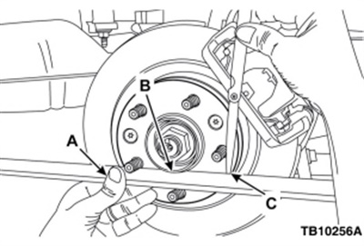 Use a straight-edge (A) and feeler gauge (C) to check the rotor hat's wheel mounting surface for flatness. Place the edge of the straight-edge tool next to the hub (B).